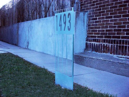 Glass Address Sign - Stripes