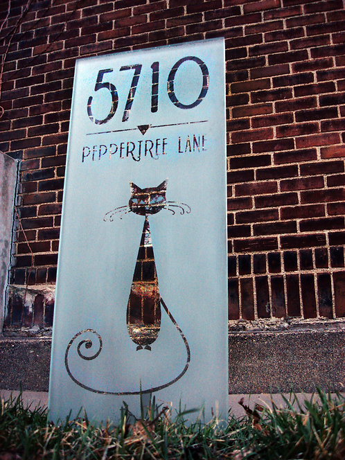 "Glass Address Sign - ""The Pussycat"""