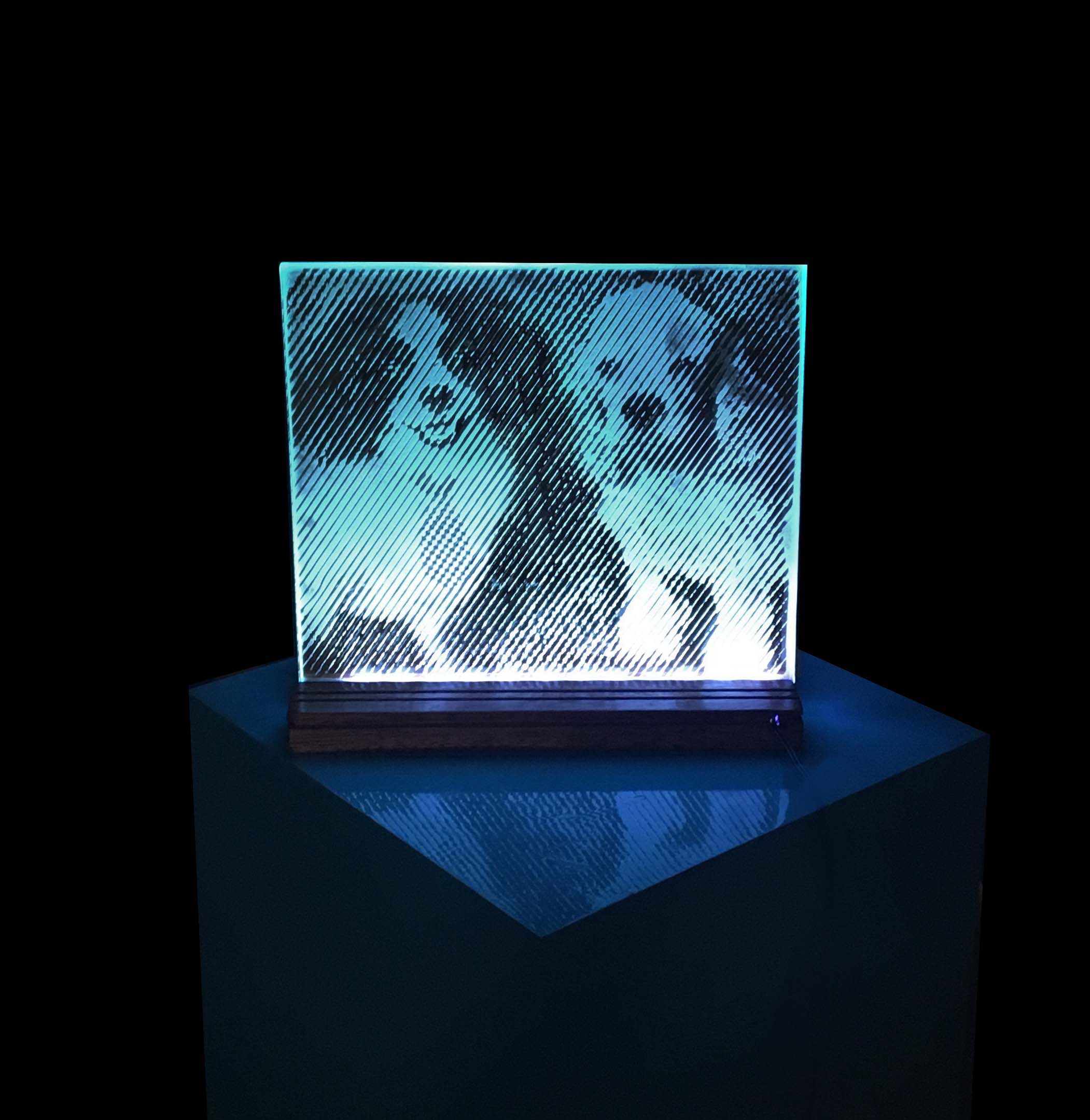 lighted dog glass piece