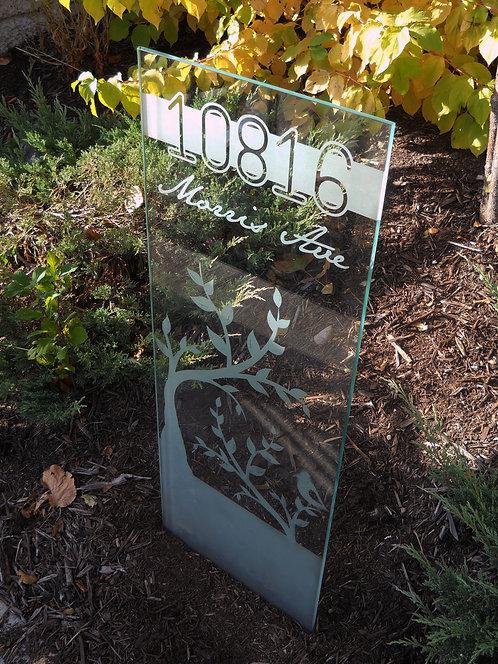 "Glass Address sign - ""Morris"""