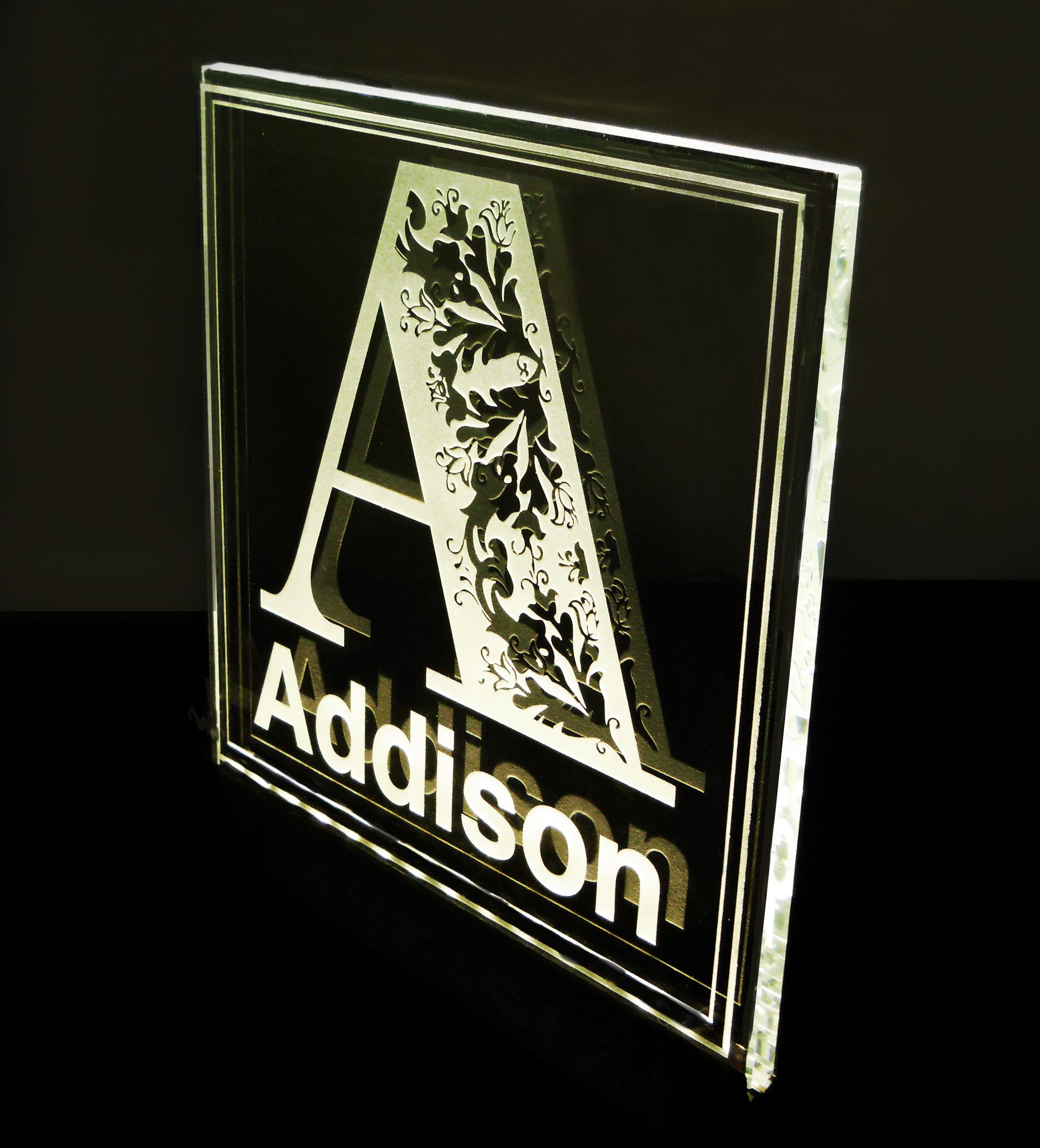 addison name glass block