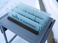 Boiling Point Media nameplates in the snow