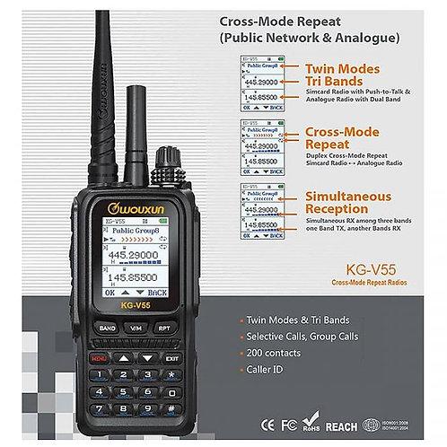 WOUXUN KG-V55 4G 雙頻模擬和網絡對講機+中轉器