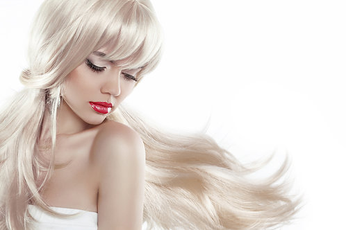 """Blonde Straight Wig With Bangs 22"""""""