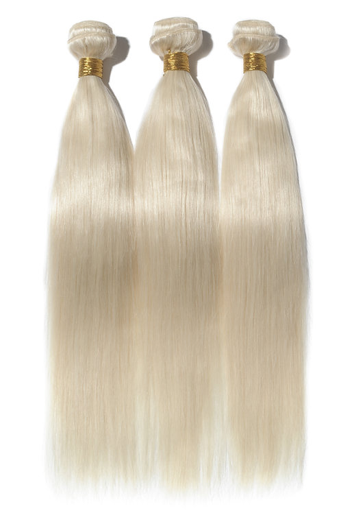 Straight Platinum Blonde Human Hair Extensions 26""
