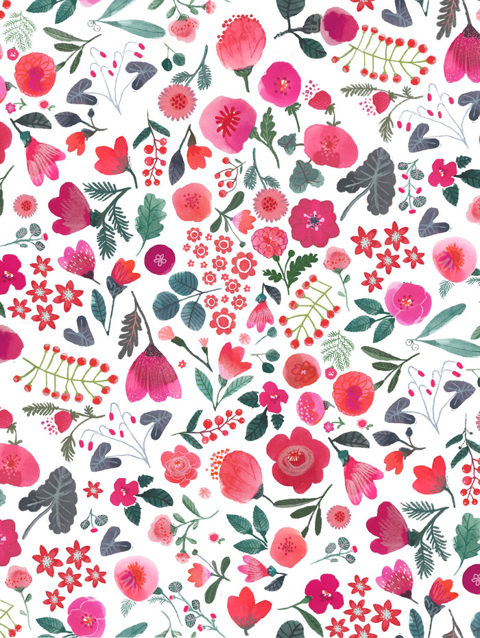 pink and red watercolor florals