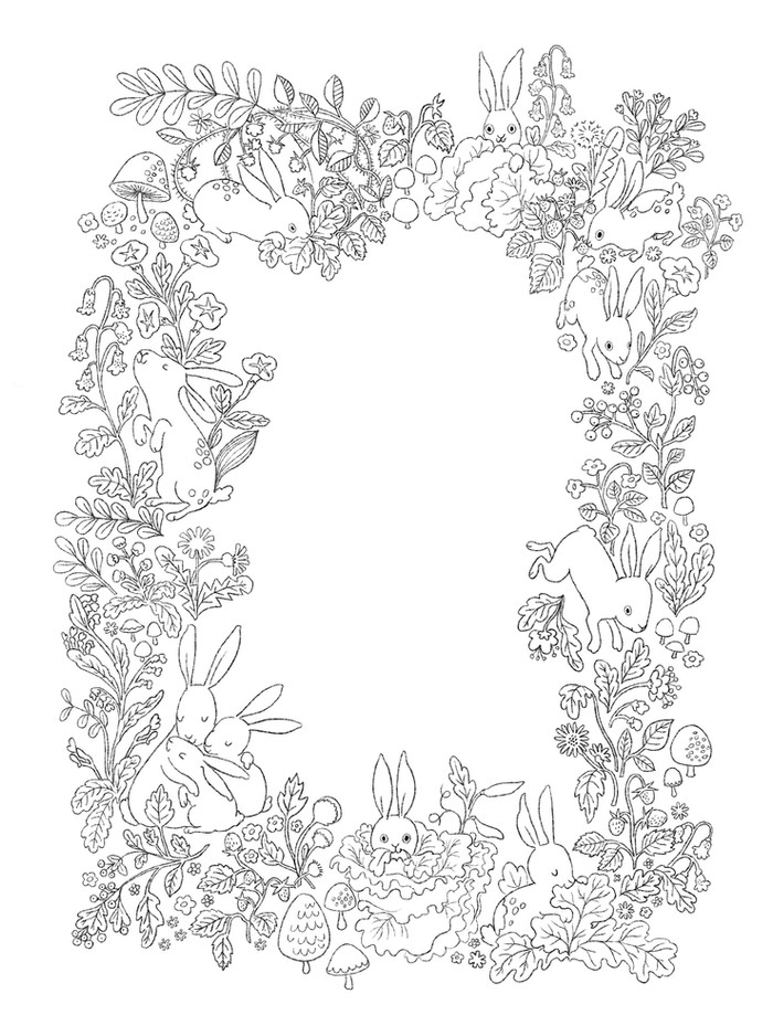 Bunny border line art