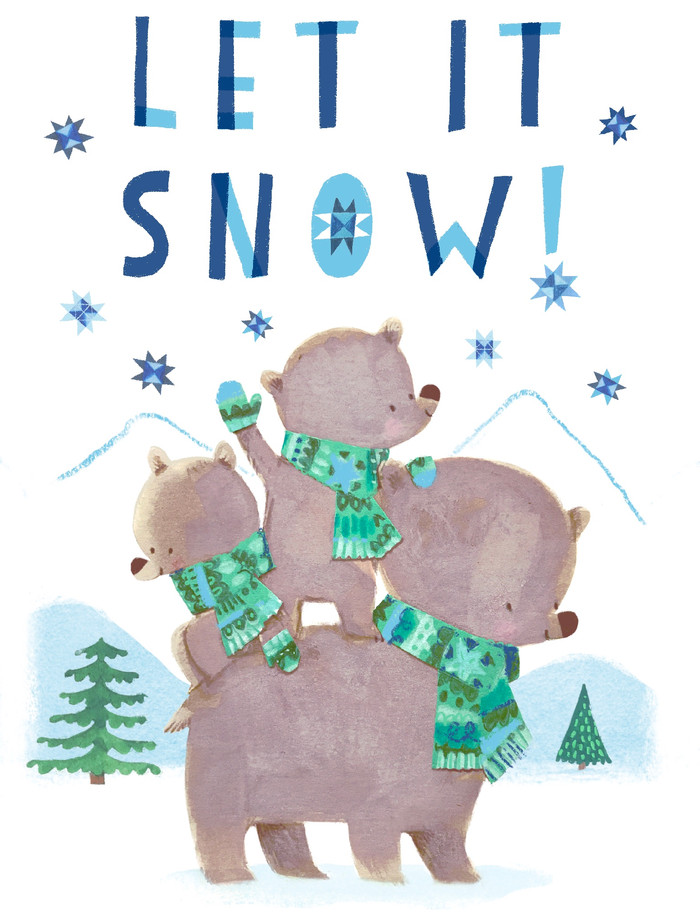 Let it Snow, bear family card