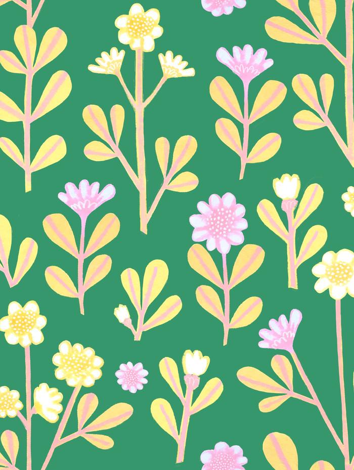 Retro flowers on green