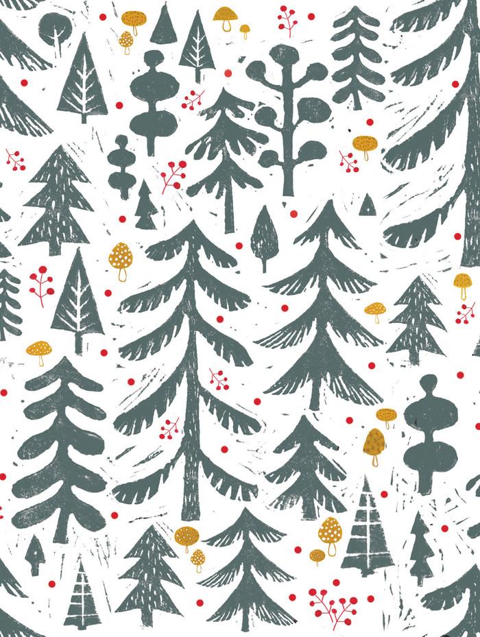 Linocut Trees