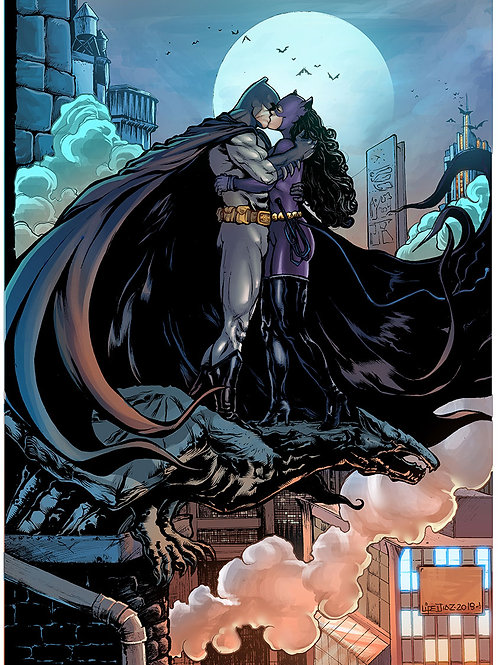 Print A3 -Batman e Mulher Gato