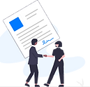 Illustration of two people shaking hands in front of a signed paper