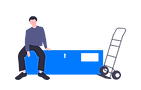 Illustration of a man sitting on top of a heavy box