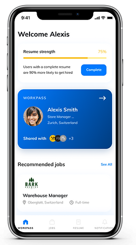 A screenshot of the app, showing the profile of a WorkPass user