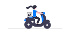 Illustration of a driver on a bike