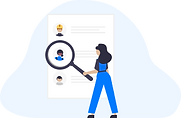 Illustration of a woman scanning through a big page of employee profiles