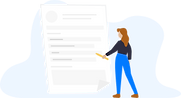 Illustration of a woman standing in front of a big page that looks like a CV