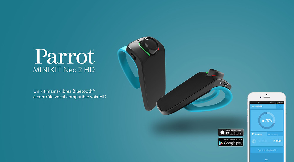 Kit Main Libre Bluetooth, Parrot, Mini Kit Neo 2 HD, apple, ios, samsung, sony, android, nokia, windows phone