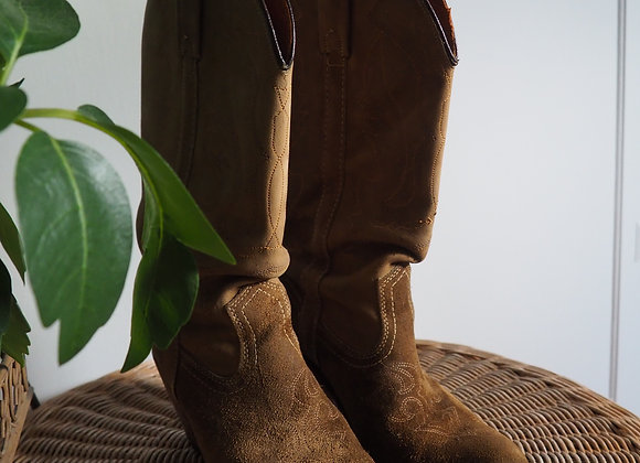 Vintage 70s Suede Cowgirl Boots
