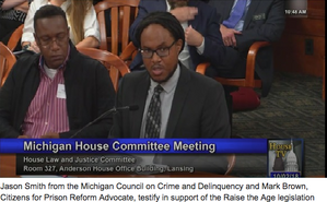 Jason Smith from the Michigan Council on Crime and Delinquency and Mark Brown, Citizen's for Prison Reform Advocate, testify in support of the Raise the Age legislation