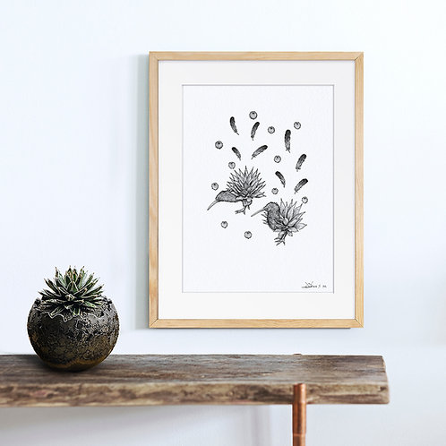 Animal Ink Illustration - Kiwi / Chen Naje - Blockprints