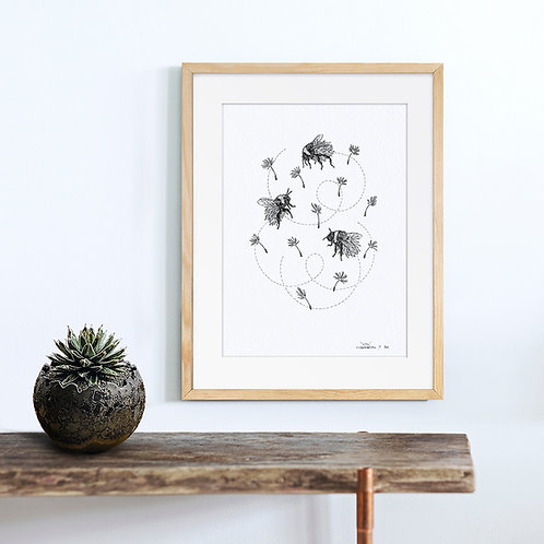 Animal Ink Illustration - Rusty-patched Bumble / Chen Naje - Blockprints