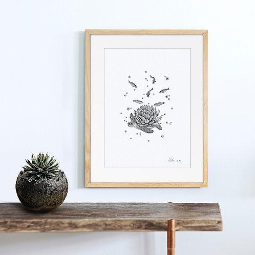 Animal Ink Illustration - Sea Turtle / Chen Naje - Original Artwork