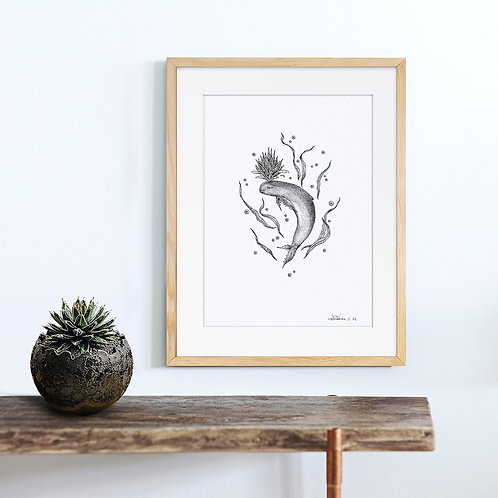 Animal Ink Illustration - Irrawaddy Dolphin/ Chen Naje - Blockprints