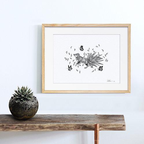 Animal Ink Illustration - Darwin's Fox / Chen Naje - Blockprints