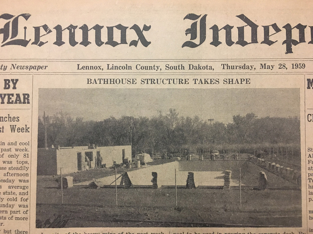 The Lennox Independent in May 1959 followed construction of the new Lennox city pool and bathhouse.