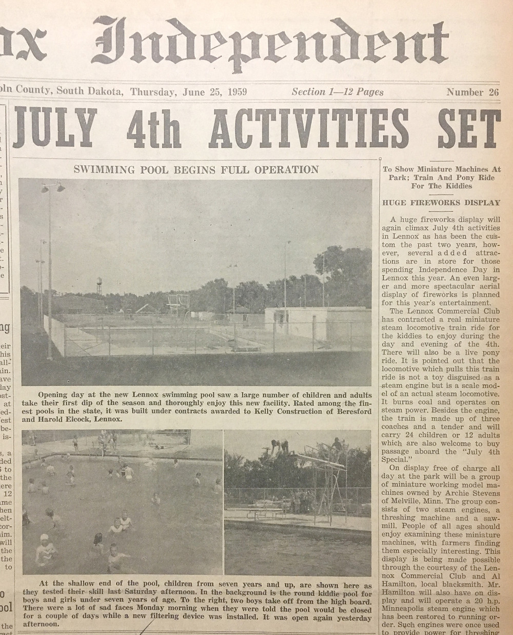 The Lennox Independent June 1959 reported the Lennox pool opened for the first time that month.