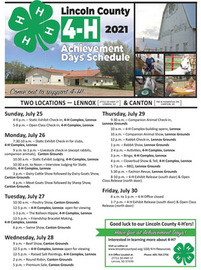 Lincoln County 4-H Achievement Days July 25-29