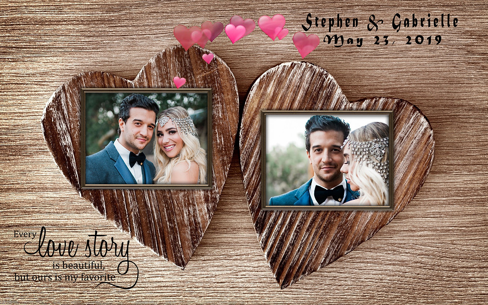Bride and Groom on heart
