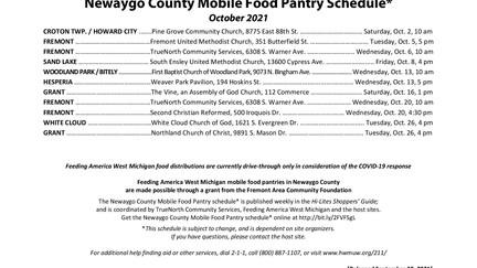October Newaygo County Mobile Food Pantry Schedule