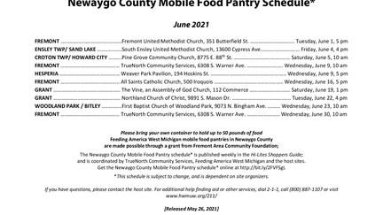 June Newaygo County Mobile Food Pantry Schedule