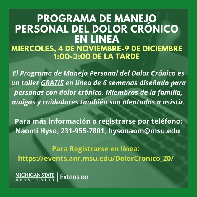 RESCHEDULED: MSU-E Chronic Pain PATH Spanish Series