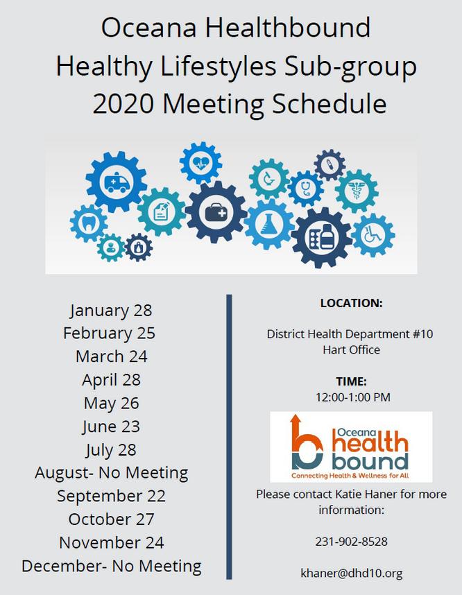 Oceana Healthbound Healthy Lifestyles Sub-Group 2020 Meetings