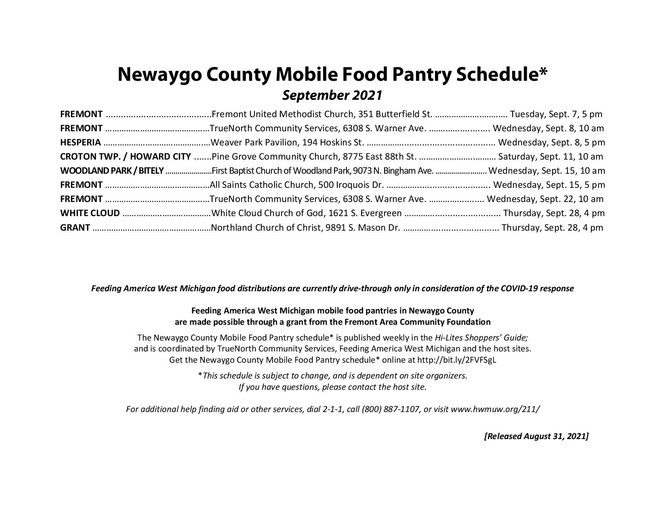 September Newaygo County Mobile Food Pantry Schedule