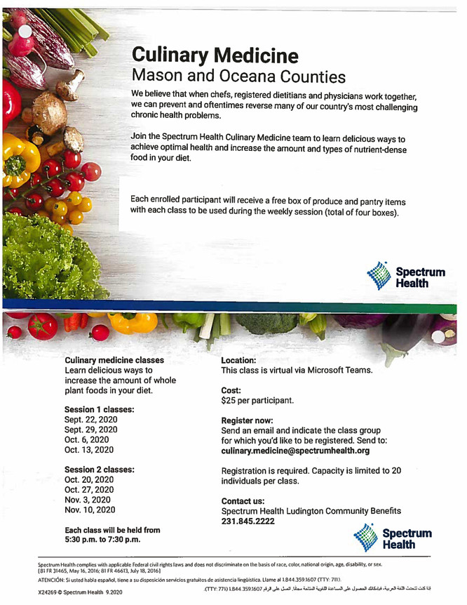Culinary Medicine coming to Mason & Oceana Counties