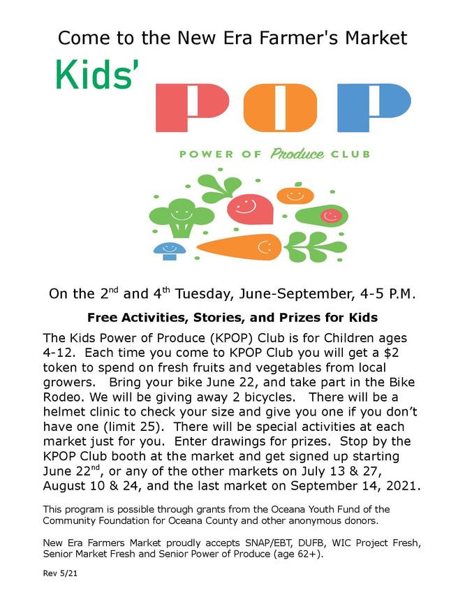 Kids' POP at the New Era Farmer's Market