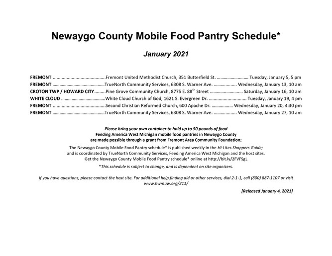 January Newaygo County Mobile Food Truck Schedule