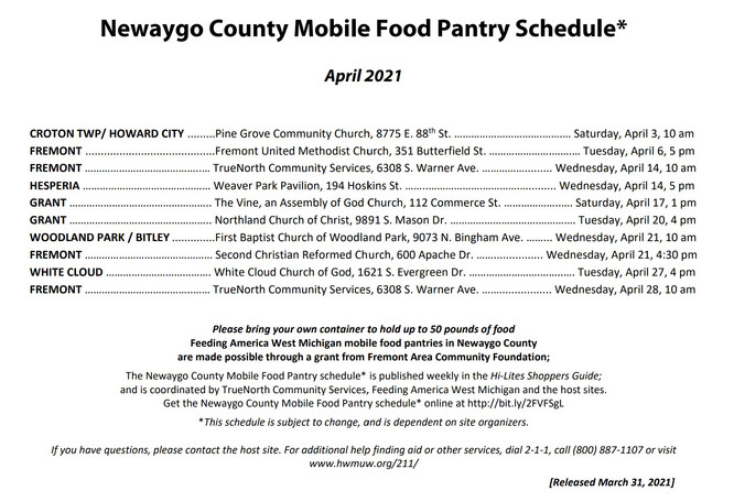 April  Newaygo County Mobile Food Truck Schedule
