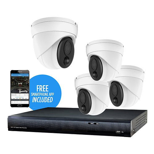 5 MP 4-Camera 65' IR HD Security Kit, with 4-Channel DVR and 1TB HDD