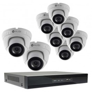 8-CAMERA 5.0 MEGAPIXEL 135' IR HD-TVI HYBRID+ OUTDOOR SECURITY CAMERA SYSTEM WIT