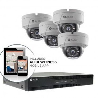 ALIBI 5 MP 4-CAMERA 65' IR HD-TVI HYBRID+ VANDALPROOF SECURITY SYSTEM, WITH 4-CH