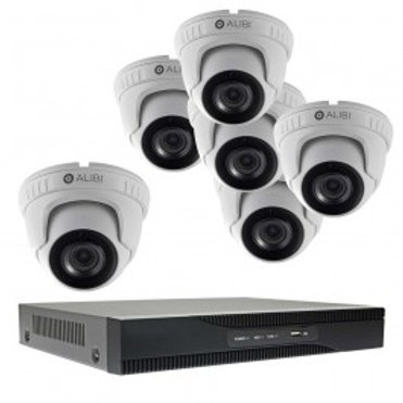 6-CAMERA 5.0 MEGAPIXEL 135' IR HD-TVI HYBRID+ OUTDOOR SECURITY CAMERA SYSTEM WIT