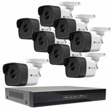 8-CAMERA 5.0 MEGAPIXEL 65' IR HD-TVI HYBRID+ OUTDOOR SECURITY CAMERA SYSTEM WITH