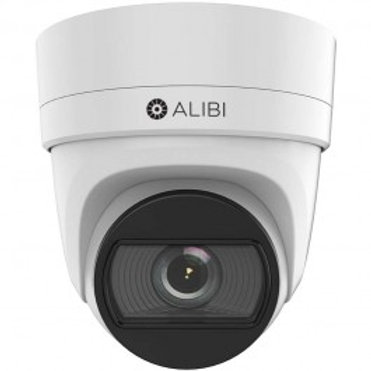 ALIBI 6 MP 100' IR H.265+ IP VARIFOCAL TURRET DOME CAMERA, WHITE