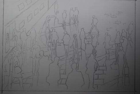 création et esquisse au crayon graphite HB