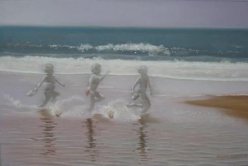 La mer efface sur le sable
